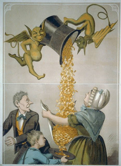 [Devils pouring gold coins from hat into woman's apron and boy's hat]