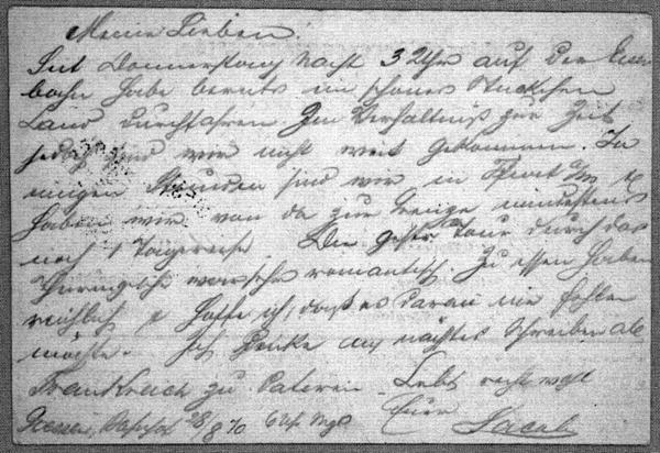 Feldpost - Correspondenzkarte from Jacob Berliner to Family 1870 Aug.28