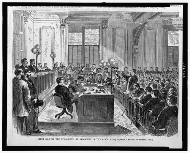 First day of the McFarland trial - scene in the courtroom