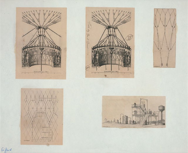 [Five technical illustrations show network of ropes and apparatus for securing multi-passenger platforms on captive balloons; arrangement of ropes for netting; and an elaborate hydrogen manufacturing and pumping station for inflating balloons] / A. Tissandier.