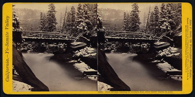 Foot bridge, leading to Nevada Fall, after snow storm in July