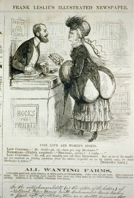 Free love and women's rights [cartoon showing woman asking booksller for her-books, as opposed to hymn-books]