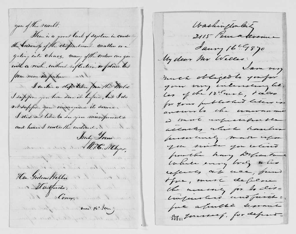 Gideon Welles Papers: Correspondence, 1820-1878; 1870, Jan.-Aug