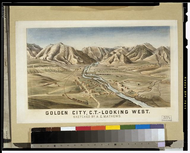 Golden City, C.T. - looking west / sketched by A.E. Mathews.