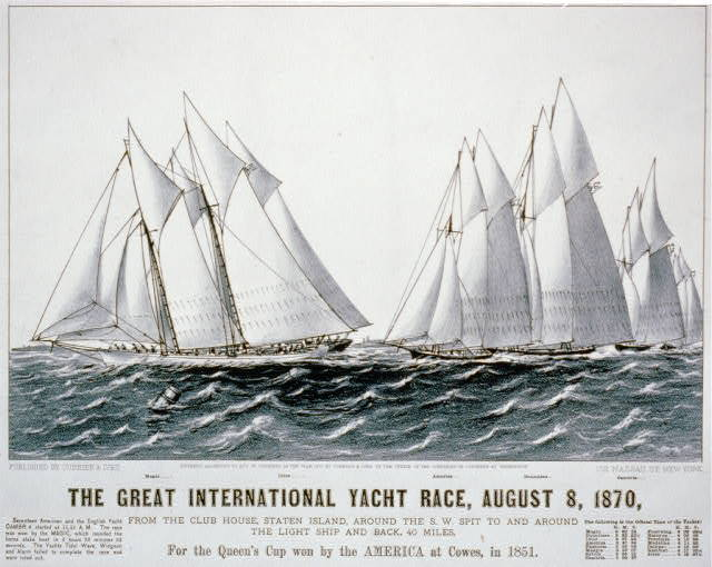 Great international yacht race, August 8, 1870: from the club house, Staten Island, around the S.W. Spit to and around the light ship and back, 40 miles For the queen's cup won by the America at Cowes, in 1851.