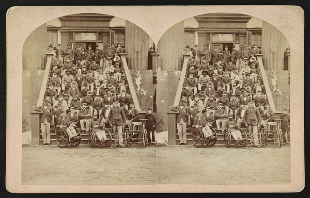Group of veteran soldiers, National Home for Disabled Volunteer Soldiers, near Fort Monroe, Va., Capt. P.T. Woodfin, Governor