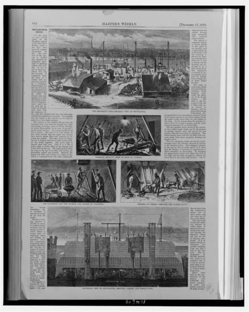 [Images of the construction of the Brooklyn Bridge (East River Bridge), New York City]