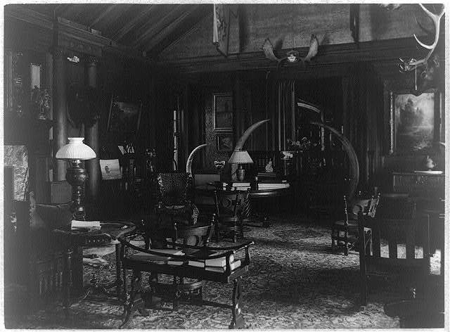 [Interior of Sagamore Hill with elephant tusks, antlers and bison head]