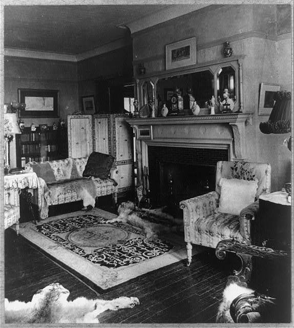 [Interior of Sagamore Hill with fireplace and bearskins]
