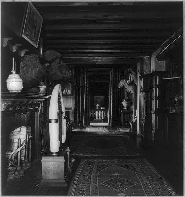 [Interior of Sagamore Hill with fireplace, water buffalo head and two antelope heads]
