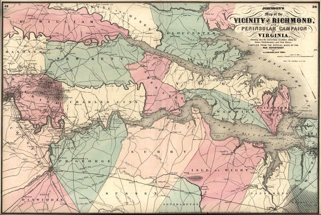 Johnson's map of the vicinity of Richmond, and Peninsular Campaign in Virginia : showing also the interesting localities along the James, Chickahominy and York rivers /