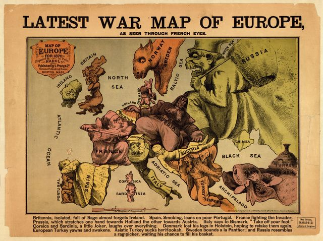 Latest war map of Europe : as seen through French eyes /