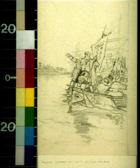 [Man, probably an explorer, in prow of boat, holding banner]