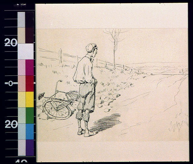 [Man with fallen bicycle looking up road]