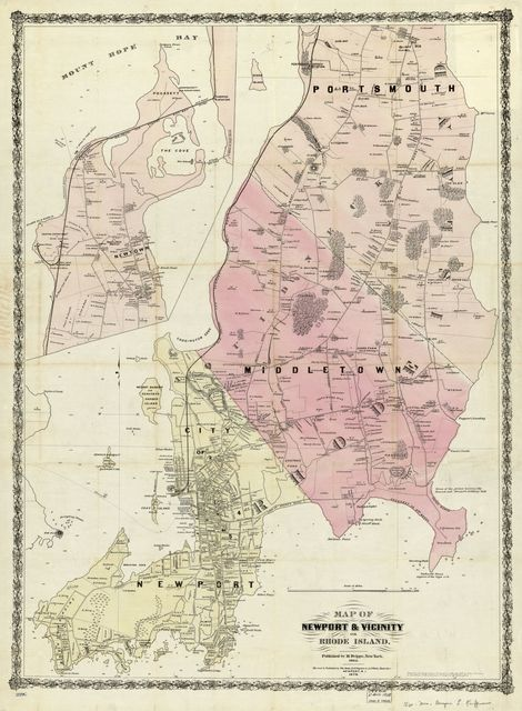 Map of Newport & vicinity, or Rhode Island.