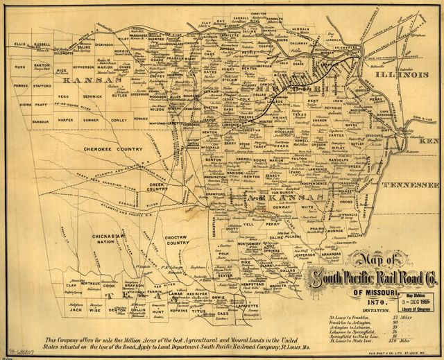 Map of South Pacific Rail Road Co. of Missouri.