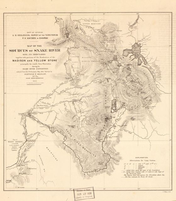 Map of the sources of Snake River : with its tributaries together with portions of the headwaters of the Madison and Yellowstone from surveys and observations of the Snake River Expedition /