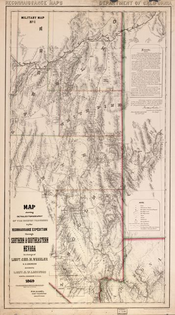 Map showing detailed topography of the country traversed by the reconnaissance expedition through southern and southeastern Nevada /