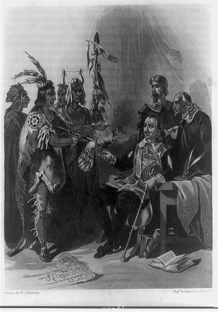 Meeting of Governor Carver and Massasoit / drawn by H.L. Stevens ; eng'd. by Augustus Robin, N.Y.