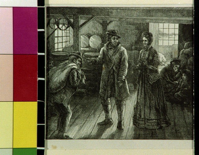 [Men and women standing in interior of store or warehouse]