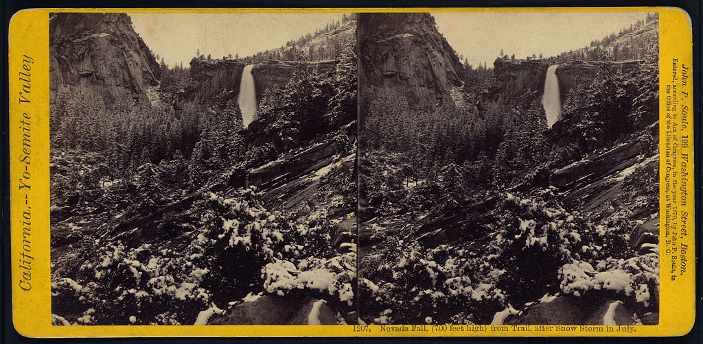Nevada Fall, (700 feet high) from trail, after snow storm in July