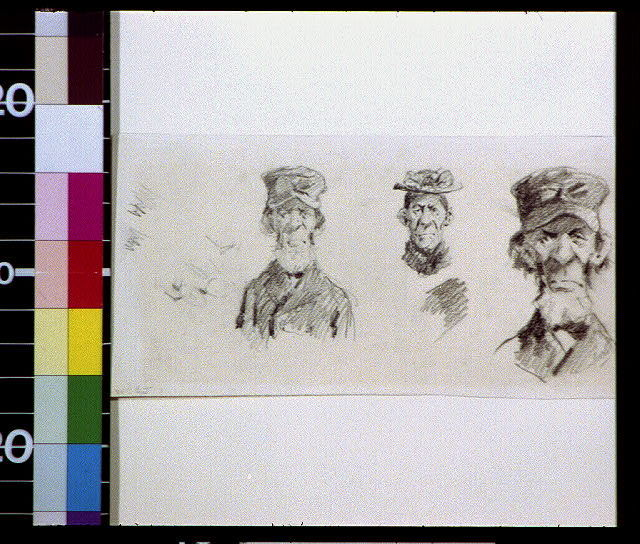 [Old bearded man in cap and old woman in hat]