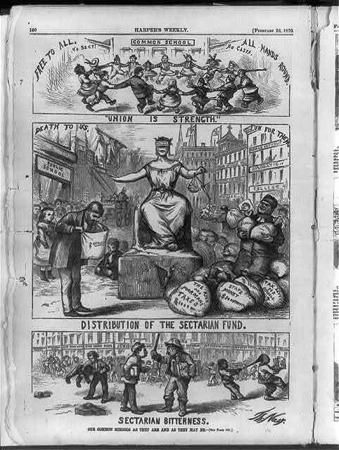 """Our common schools as they are and as they may be [Anti-catholic, anti-Tammany cartoon showing (1) """"Sectarian Bitterness"""" of private schools; (2) """"Distribution of the Sectarian Fund"""" - all to Catholic and none to public schools; (3) """"Union is Strength"""" - children of all races and religions playing together] / Th. Nast."""