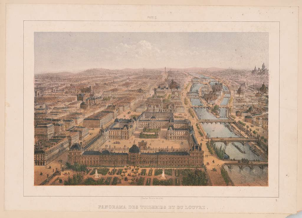 Paris. Panorama des Tuileries et du Louvre Charles Rivière del. et lith
