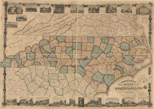 Pearce's new map of the state of North Carolina : constructed from actual surveys, authentic  public documents and private contributions.