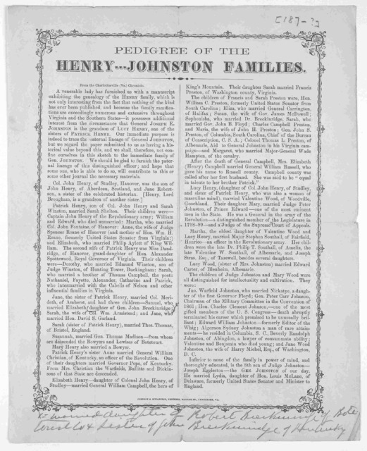 Pedigree of the Henry--- Johnston families. From the Charlottesville (Va.) Chronicle ... Lynchburg, Va. Johnson & Schaffter, printers, Market St. [187-?].