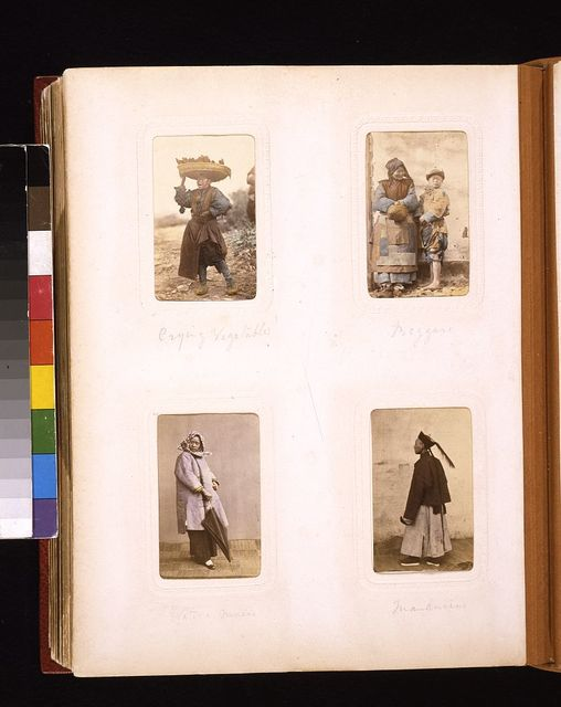 [Portraits of a Chinese man selling vegetables, a woman and child beggar, a woman from Macau, and a bureaucrat (Mandarin)]