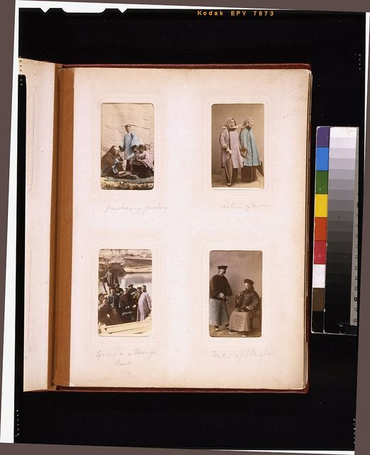 "[Portraits of a Chinese women purchasing jewelry, women from Macau, people in a boat, and the ""toutai"" (magistrate) of Shanghai] with an attendant]"