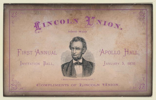 [Postcard invitation for the Lincoln Union first annual ball.]