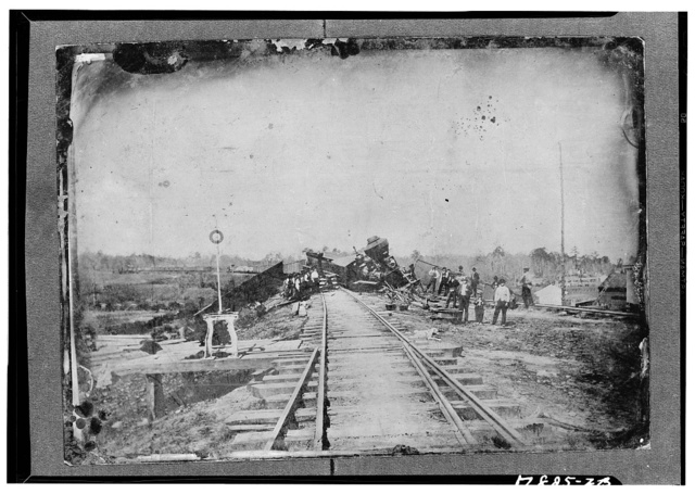 Railroad wreck. Copy from early photograph
