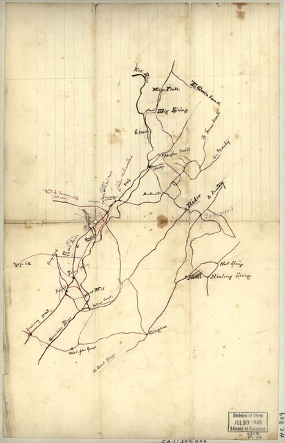 [Rough sketch of roads and streams in Pocahontas and Greenbrier counties, West Virginia].