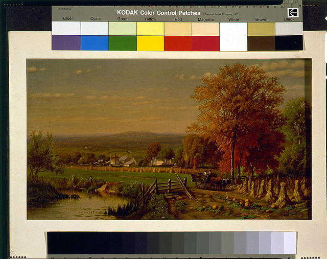 [Scene on farm, near Farmington, Connecticut, in autumn, showing pond, fields, and buildings]