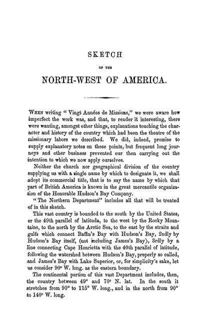 Sketch of the North-west of America.