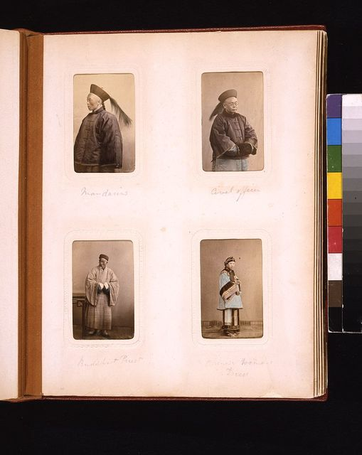 [Studio portraits of a Chinese bureaucrat (mandarin), a civil officer, a Buddhist priest and a woman ]