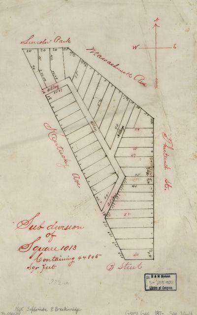 Sub division of square 1013, containing 44,805 sqr. feet : [southeastern Washington, D.C.].