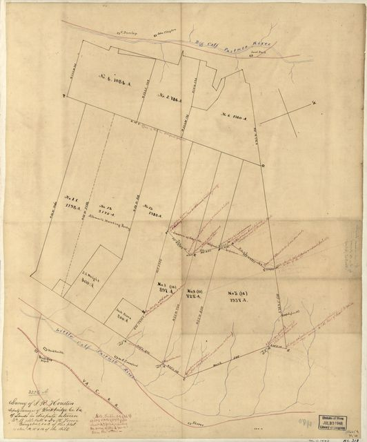 Survey of I. R. Houston, deputy surveyor of Rockbridge Co., Va. of lands in dispute between Wm. B. McNutt & D.& H. Forrer, being Nos. 1, 2 & 3 of this plat (Nos. 14, 15 & 16 of the bill).