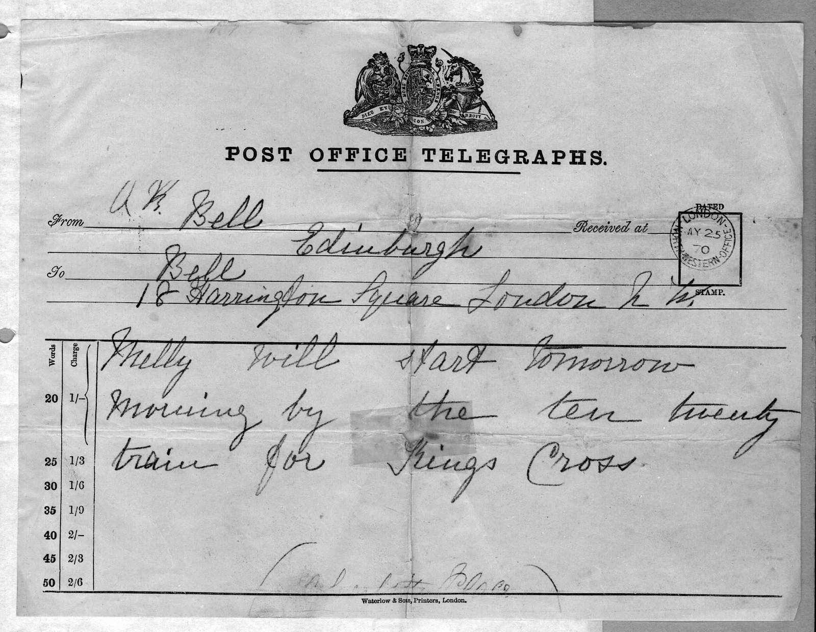 Telegram from Alexander Graham Bell to Alexander Melville Bell, May 25, 1870