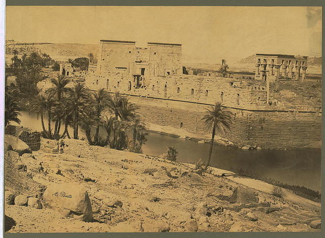 [Temple of Isis (left) and Kiosk of the Emperor Trajan or Pharaoh's Bed (right), Island of Philae, Egypt] / A. Beato.