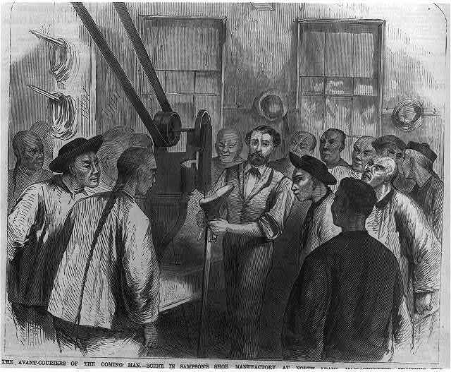 The avant couriers of the coming man--Scene in Sampson's Shoe Manufactory at North Adams, Mass.--Teaching the Chinese the use of the pegging machine