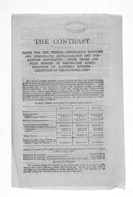 The contrast. Facts for the people Republican economy and Democratic extravagance and corruption contrasted - Three years and four months of Republican administration of national affairs- reduction of the national debt. [New York? 1870?].
