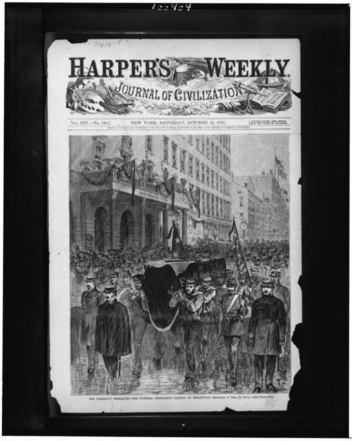 The Farragut obsequies--the funeral procession passing up Broadway / sketched by Theo. R. Davis.