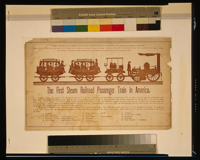 The first steam railroad passenger train in America