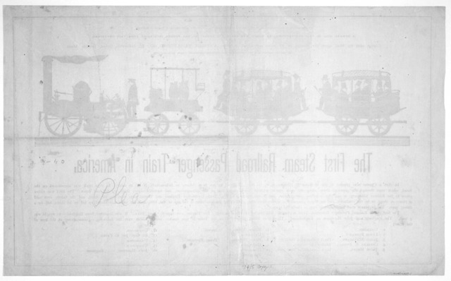 The first steam railroad passenger train in America. Boston, Antique publishing company 1870.
