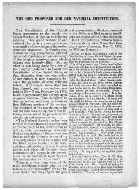 The God proposed for our national constitution ... Worcester, Mass. Liberal tract Society [187-].