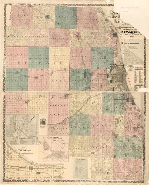Van Vechten's map of Cook Du Page Countie's also the norther portion of Lake County, Indiana /