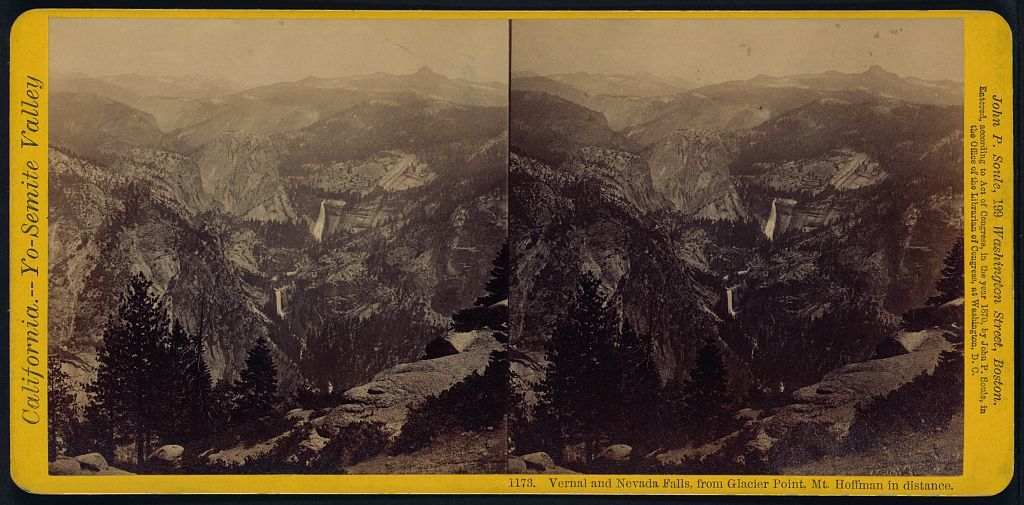 Vernal and Nevada Falls, from Glacier Point, Mt. Hoffman in distance